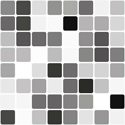 Black Mosaic Tile Transfer Stickers 149mm square (Pack of 8) self-adhesive vinyl