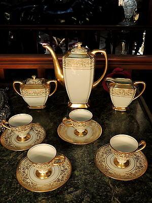 Antique Demitasse Cups Saucers Tea Pot Sugar Creamer Hutschenreuther Selb German