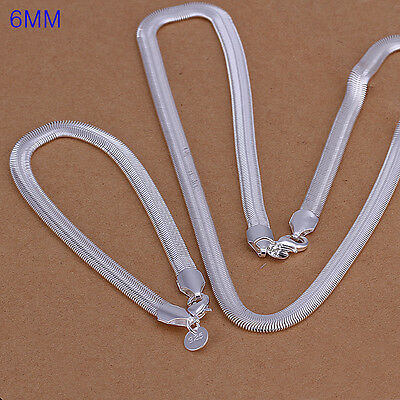 Sterling solid silver 6mm snake chain necklace&bracelet Jewelry Sets XLSS084