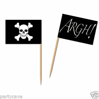 Pirate Party 50 Pack Flag Food Cocktail Picks Cupcake Decoration Skull Crossbone