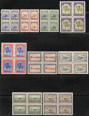 Greenland Scott# 10-18 Mi# 8-16 Mint Never Hinged Blocks Of Four As Shown
