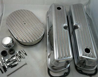 SB Ford SBF Finned Polished  Aluminum Tall Valve Cover Kit  260 289 302 351W V-8