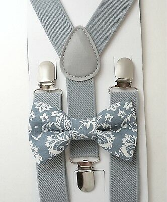 Kids Boys Baby SET Gray Suspenders & Paisley Floral Cotton bow tie 8mon -5Years