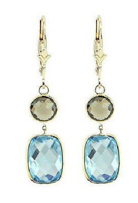 14K Yellow Gold Gemstone Earrings With Blue And Smoky Topaz