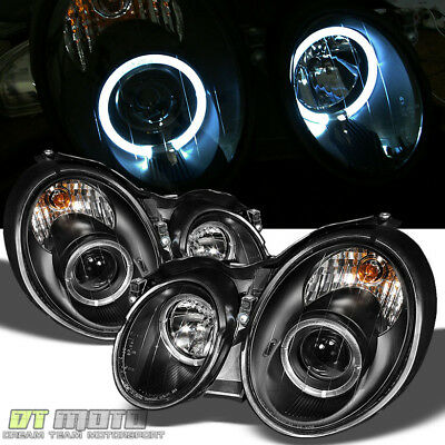 BLACK 98-02 MERCEDES W208 CLK DUAL HALO PROJECTOR HEADLIGHTS LIGHTS LEFT+RIGHT