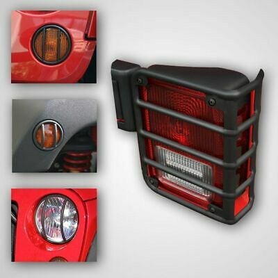 RUGGED RIDGE Black Euro Guard Light Protector Kit 8 Piece for 07-14 Wrangler