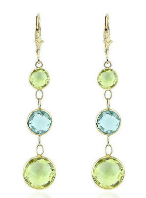 14K Yellow Gold Earrings With Round Blue And Lemon Topaz Gemstones