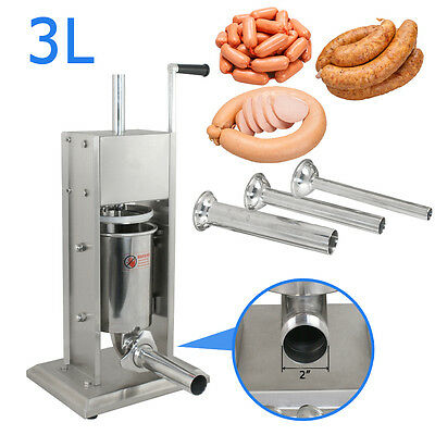SEGAWE Stainless Steel Vertical Sausage Stuffer Filler Maker 7 lbs Home