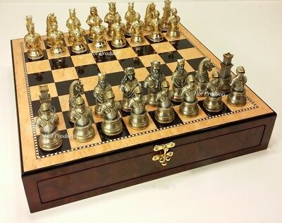 PEWTER METAL MEDIEVAL TIMES CRUSADES BUSTS KNIGHT Chess Set STORAGE BOARD 20""
