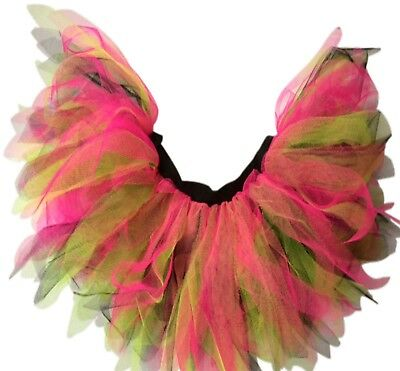 """Neon Tutu Skirt 80s Fancy Dress Hen Party 6 Layer Wales Costume Rugby 16/"""" Length"""