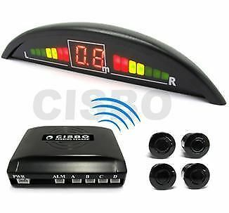 Silver Cisbo Wireless Car Reversing Parking Sensors 4 Sensor Kit Led Display