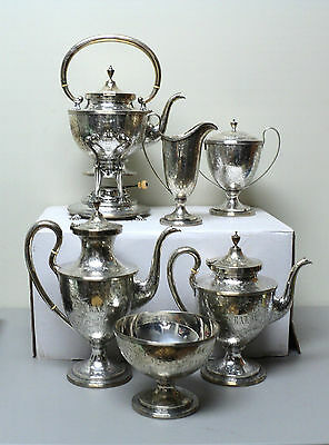 19th C. KIRK & SON Sterling Silver 6-Piece Coffee / Tea Set, c. 1863-1890