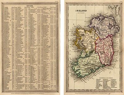 1833 Nice T. Starling map Ireland complete with the text page