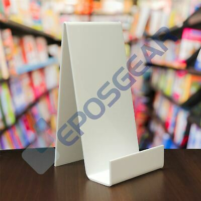 1 XL White Perspex Acrylic Plastic Book Plate Retail Shop Display Stand Holder