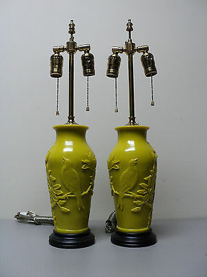 "Stunning Pair Antique Chinese Yellow Peking Glass 23"" Lamps, Carved Bird Design"