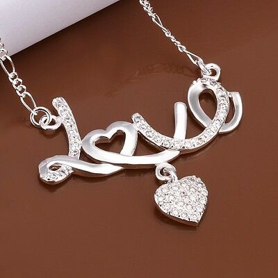 """New 925 Sterling Silver Necklace Love Pendant Heart Crystal Charm Chain 18"""""""