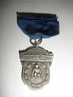 Antique Sterling Silver Field Day New North America Track And Field Medal 1934