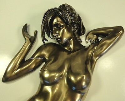 WALL PLAQUE Nude Female Statue Woman Torso Sculpture Figurine Bronze Color