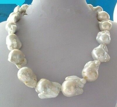 Large 23- 26mm White Unusual Baroque Pearl Necklace disc Clasp 18 ""