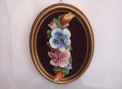 ITALIAN Vintage CAPODIMONTE STYLE CERAMIC HAND PAINTED FLOWERS ON FRAME