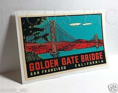 Golden Gate Bridge Vintage Style Travel Decal / Vinyl Sticker, Luggage Label #2