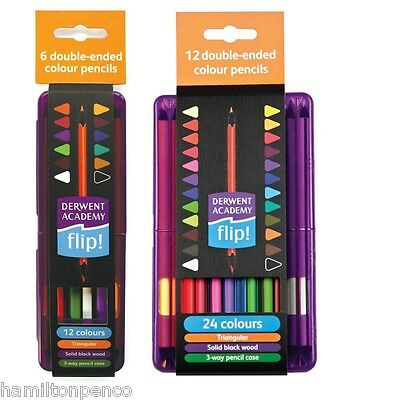 DERWENT ACADEMY FLIP COLOURING PENCILS - 6 or 12 double-ended blackwood pencils