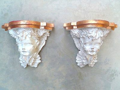 Pair Of Carved Angel Cherubs Cupids Decorative Wall Sconces