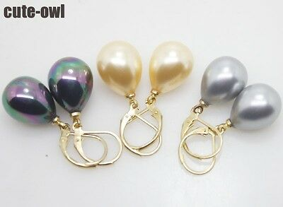 3pairs 12x16mm Gold Black Gray drop mother of pearl shell Earring
