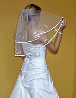 Women Wedding Veil on Comb with Crystals Elbow Length and Satin Edge W-2