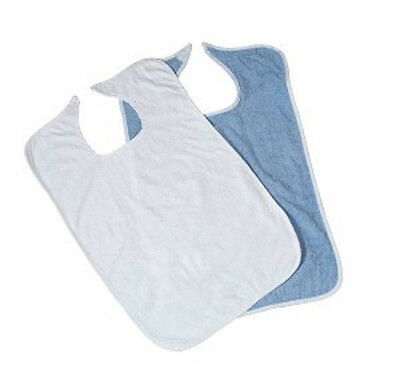 1 new terry cloth adult large 18''x30'' clothing protectors white or blue bib