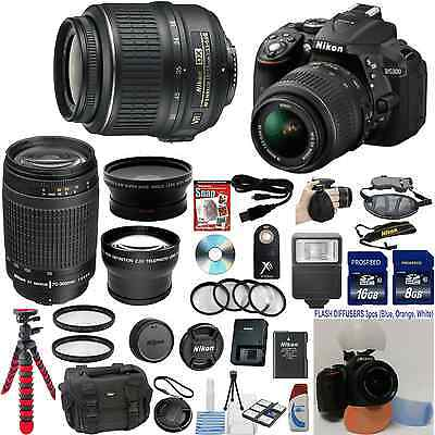 Nikon D5300 DSLR Camera (Import) + 18-55VR + 70-300G + 24 GB Bundle Kit + More !