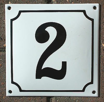 FRENCH ENAMEL HOUSE NUMBER SIGN. BLACK No.2 ON A WHITE BACKGROUND. 16x16cm.