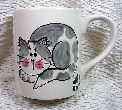 Grey & White Laying Cat Mug Handcrafted Ceramic Original Design Grace M. Smith