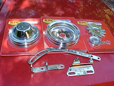 double groove chrome pulleys,alt. brackets for short water pump SBC