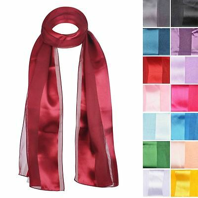 Women Neck Plain Satin Stripe Long Scarf - 50 s Silk Feel Wrap Shawl