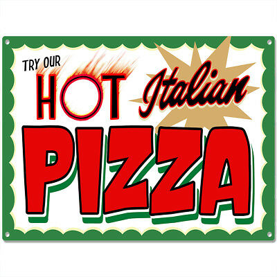 Hot Italian Pizza Metal Sign Vintage Pizzeria Restaurant Wall Decor 16 x 12