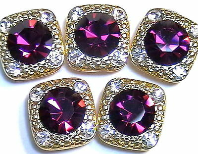 5 - 2 HOLE SLIDER OR SPACER BEADS 8mm AMETHYST & 2mm CLEAR AUSTRIAN CRYSTALS