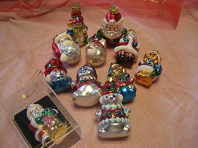 """Lot of 11 Hand Crafted Glass Christmas Ornaments 1 Box 3 1/2"""" Tall Color Glitter"""