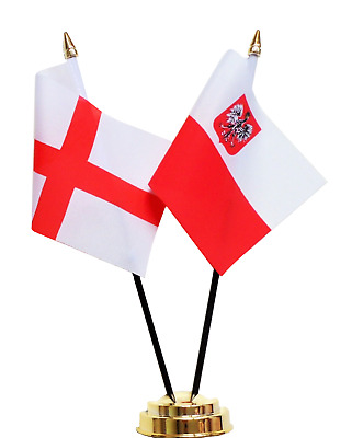England & Poland Eagle Double Friendship Table Flag Set