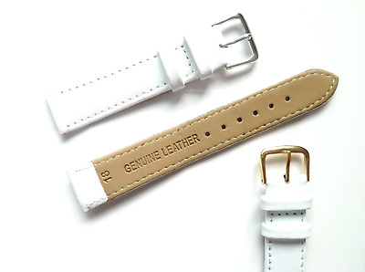 White Genuine Real Calf Leather Watch Strap Band Size 6mm-24mm Ladies New