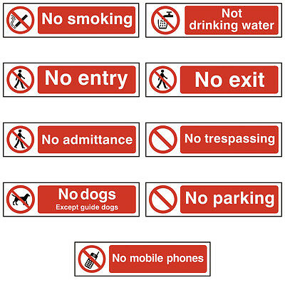 Warning Red Self Adhesive Office Door Workplace Signs - 200x50mm, Entry, Parking