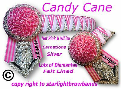 Browband Diamante Sharktooth Candy Cane Royal Orange White By Starlightbrowbands