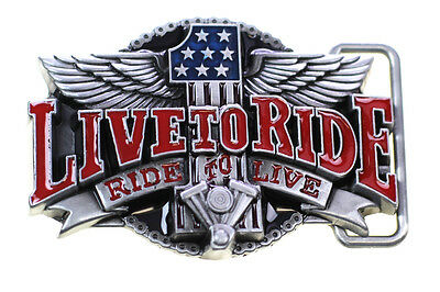 """""""Live To Ride, Ride To Live"""" Motorcycle Engine Biker USA Flag Belt Buckle"""