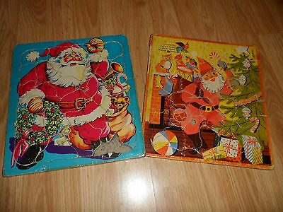 2- VTG 1950 Playtime - Saalfield  Santa Claus Frame Tray Inlay Picture Puzzles