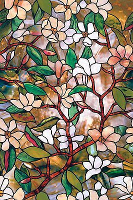 24 by 36-InchSummer Magnolia Glass Window Privacy Film, Textured/Stained Effect