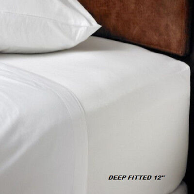 1 new full size white hotel fitted 54x80x12 deep percale sheets t-180 best deal