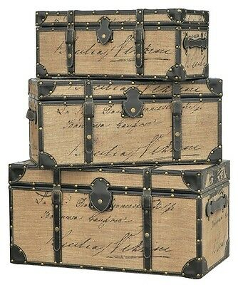 Set of 3 FRENCH SCRIPT TRUNKS Wood ANTIQUE Storage Ottoman Linen Fabric