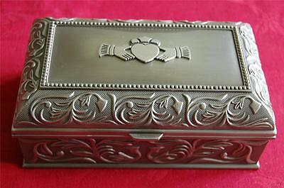 "Mullingar Pewter Small Jewellery Box - CLADDAGH Design 3"" inches long"
