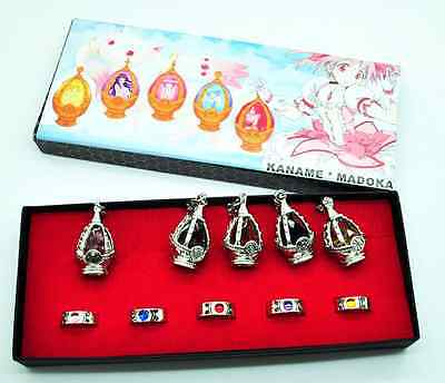 Anime Puella Magi Madoka Magica Soul Gem 5 Necklace + 5 Rings With Box Cosplay