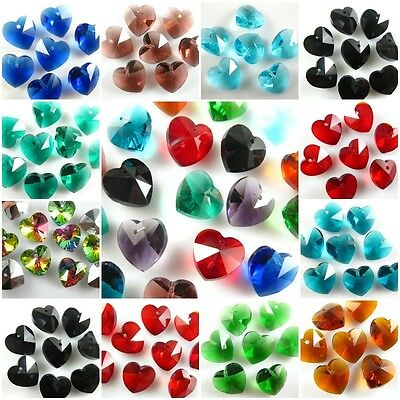 Cute 14mm Faceted Glass Crystal Heart-Shaped Beads Loose Spacer Craft Jewelry